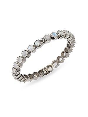 Rainbow Moonstone & Sterling Silver Hinged Bangle Bracelet