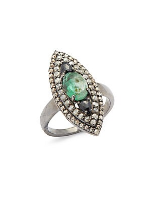 Click here for Diamond  Emerald & Sterling Silver Ring prices