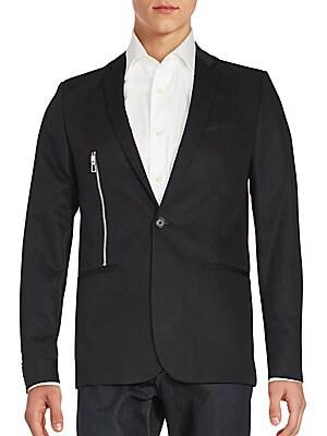 Solid One-Button Zipper Blazer
