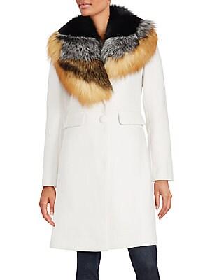 Dyed Fox Fur Wool-Blend Coat