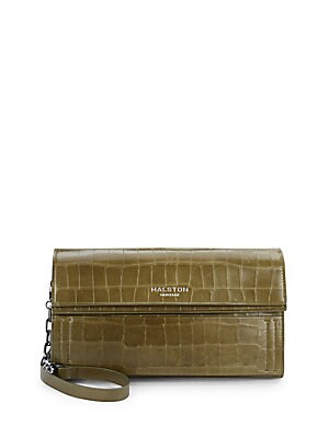 Crocodile Embossed Leather Convertible Clutch