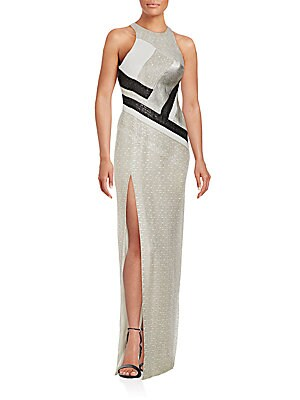 Colorblock Netted Gown