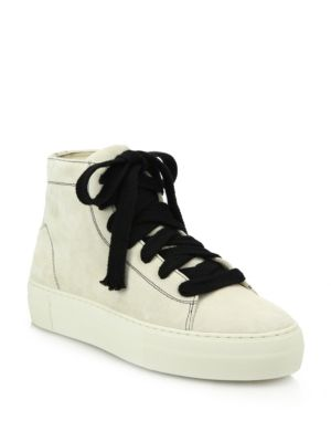 High-Top Suede Lace-Up Sneakers