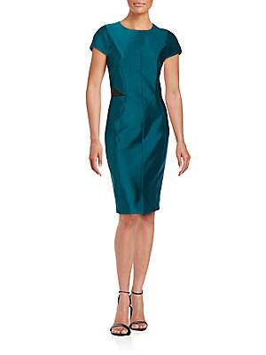 Lambskin-Trimmed Sheath Dress