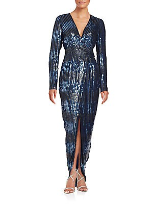 Sequined Silk Wrap Dress