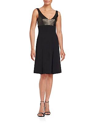Silk & Leather Empire Dress