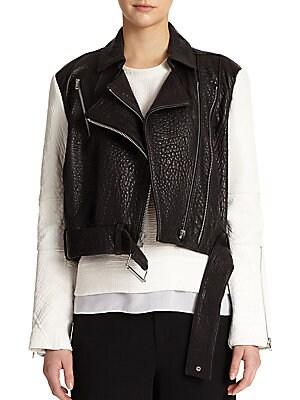 Colorblocked Pebbled-Leather Moto Jacket