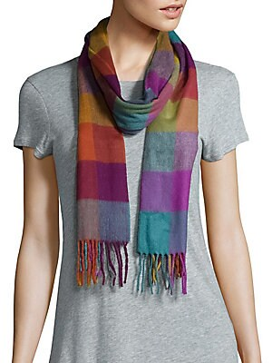 Multicolor Gingham Fringed Scarf