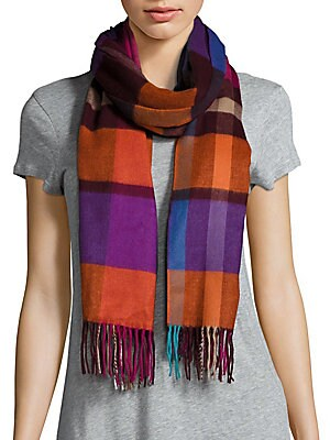 Plaid Patterned Fringed Scarf