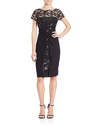 Sequined Lace & Jersey Dress