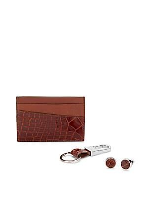 Genuine Alligator Card Holder, Keychain & Cuff Links Gift Set