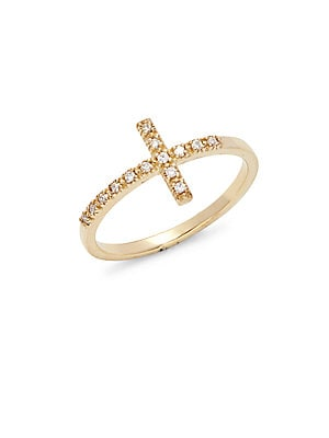 Click here for Diamond & 14K Yellow Gold Cross Ring prices