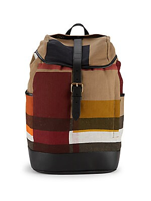 Plaid Leather-Accented Backpack