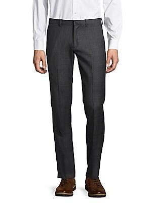 Flat-Front Woolen Windowpane Pants