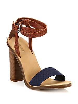 Nava Snake-Embossed Ankle-Wrap Sandals