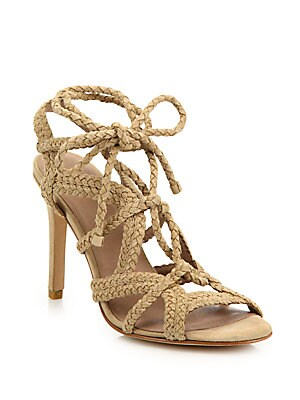Tonni Braided Suede Lace-Up Sandals