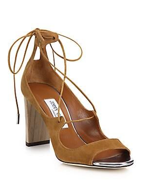 Vernie Suede Lace-Up Sandals