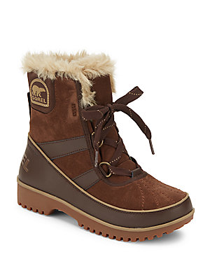 Tivoli II Faux Fur-Trimmed Suede & Leather Lace-Up Boots