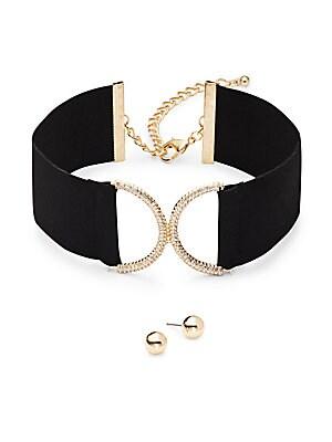 Crystal Pave Loop Pendant Choker & Earrings Set