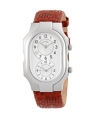 Large Signature Rectangle Leather Strap Watch