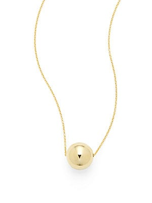 14K Yellow Gold Ball Pendant Necklace