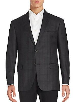 michael kors male 45906 twobutton plaid wool blazer
