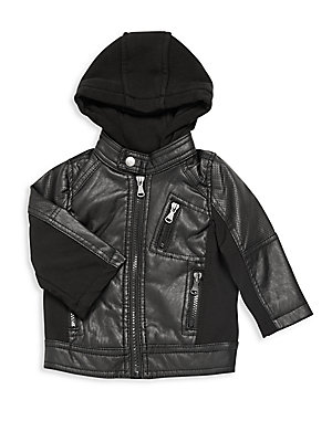 Baby's Hooded Faux Leather Jacket