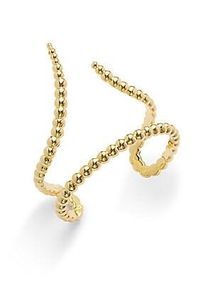 14K Gold-Plated Ridged Madrid Cuff Bracelet