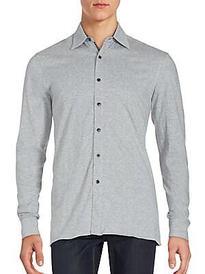Long Sleeve Heathered Sportshirt