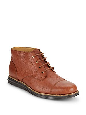 Pebbled Leather Ankle Boots