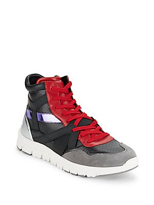 Perforated Leather High-Top Sneakers