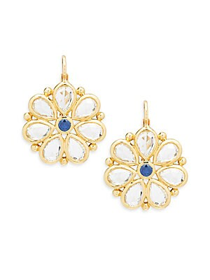 18K Gold & Sapphire Large Flower Earrings