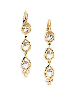 18K Gold Triple White Sapphire Diamond Accent Drop Earrings