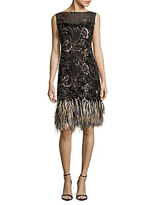 Fringed-Hem Sabrina Lace Dress