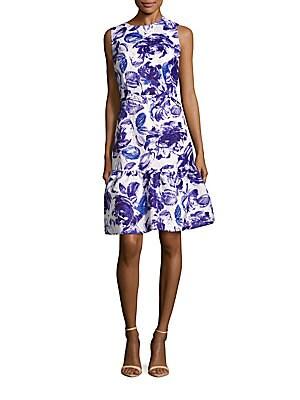 Shimmering Floral Fit & Flare Dress