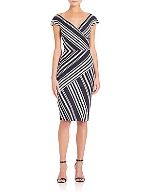 Cap-Sleeve Variegated Stripe Dress