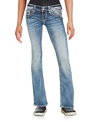 Faded Heavy Stitch Boot Cut Jeans