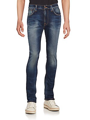 Slim-Fit Faded Organic Cotton Blend Jeans
