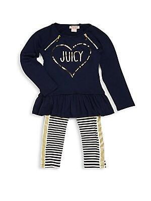 Little Girl's Sequined Peplum Top & Striped Leggings Set