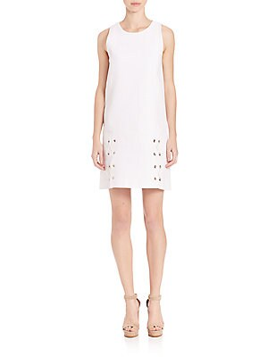 Lacing-Detail Jaquard & Denim Dress