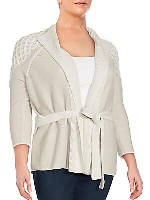 Three-Quarter Sleeve Wool-Blend Cardigan