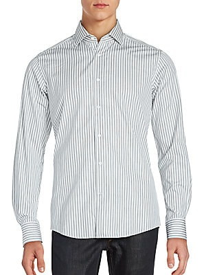 Wool and Silk Striped Dress Shirt