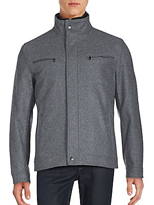 michael kors male textured long sleeve jacket