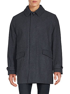 Solid Wool Blend Jacket