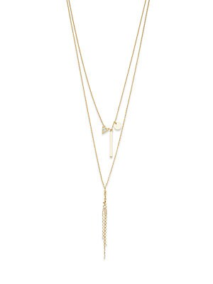 Cubic Zirconia & 14k Gold-Plated Necklace