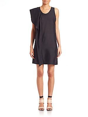 Ruffle-Trimmed Silk Tank Dress