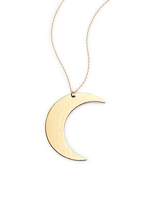 14K Gold-Plated Half Moon Pendant Necklace