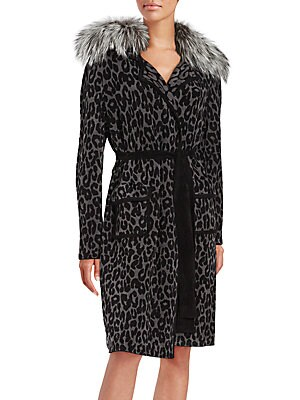 Fur-Trimmed Long Sleeve Coat