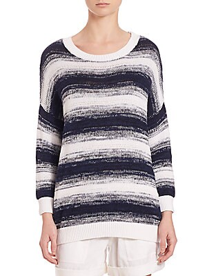 Ombre-Striped Pullover