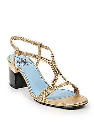 Braided Metallic Leather Sandals